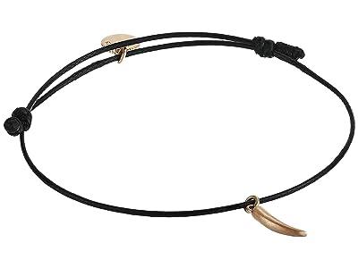 AllSaints Leather Slider with Horn Charm Bracelet (Black) Bracelet