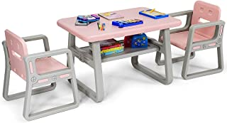 Costzon Kids Table and 2 Chair Set, Children Table Furniture with Storage Rack for Toddlers Reading, Learning, Dining, Playroom, Desk Chair for 1 to 3 Years, Activity Table Desk Sets (Pink)