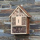 CKB LTD Grand hôtel en bois naturel pour abeilles, coccinelles, papillon, abri extérieur, jardin, nid de jardin, maison, extérieur, habitat – Grand format 30 x 10 x 39 cm