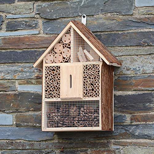 CKB LTD - Grande struttura in legno naturale per coccinelle per api e coccinelle, casetta in legno, per esterni, giardino, casa, casa, habitat all'aperto, grande, 30 x 10 x 39 cm