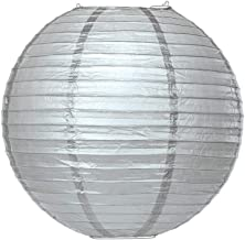 Cultural Intrigue Luna Bazaar Premium Paper Lantern Lamp Shade (18-Inch, Parallel Ribbed, Platinum Silver) - Chinese/Japanese Hanging Decoration - for Parties, Weddings, and Homes