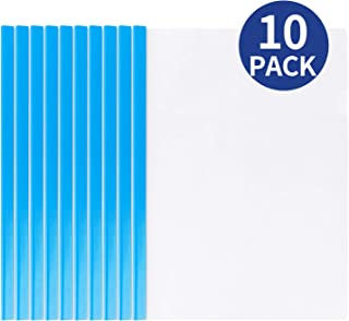 Deli 10 Pack Sliding Bar Clear Report Covers, Transparent Resume Presentation File Folders Organizer Binder for A4 Size Paper, Blue