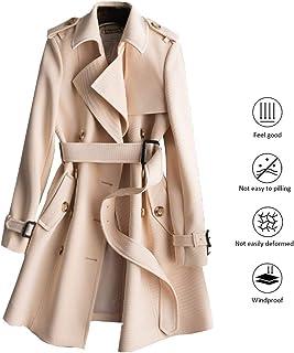 Coats Girl trench coat medium long coat spring and autumn season textured coat waist temperamental lady coat double-button slim-fit coat (Color : Ivory, Size : L)