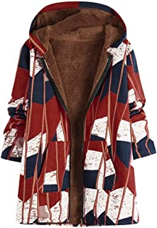 Women Vintage Parka Fleece Faux Fur Baggy Coats Zipper Weird Hoodie Coat Jacket Overcoats Winter Warm Plus Size