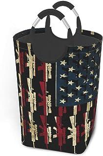 N\A Guns of America Flag Us Paniers de Rangement Panier à Linge Sale Flexible Sac Organisateur écologique Chariot de tri A...