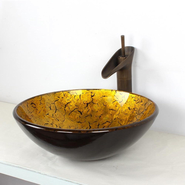 Y&M Bad Waschbecken,Zeitgenssisches Goldene Badezimmer Waschbecken-Set (Waschbecken und Wasserhahn)