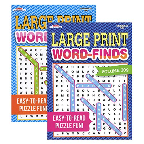 Kappa Large Print Word Finds 2 Titles, Large Print Easy to Read, Word Search Find Words Books for Adults Teens, Training Learning with Game, 48-Pack