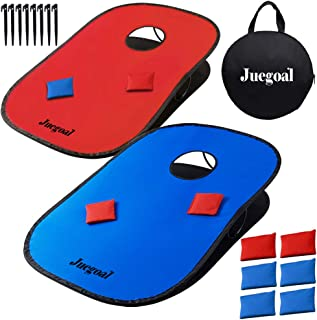 Juegoal 3x2ft Collapsible Portable Cornhole Game Set with 2 Cornhole Boards, 10 Bean Bags, Carrying Bag, and Tic Tac Toe Game Indoor Outdoor Yard Toss Game