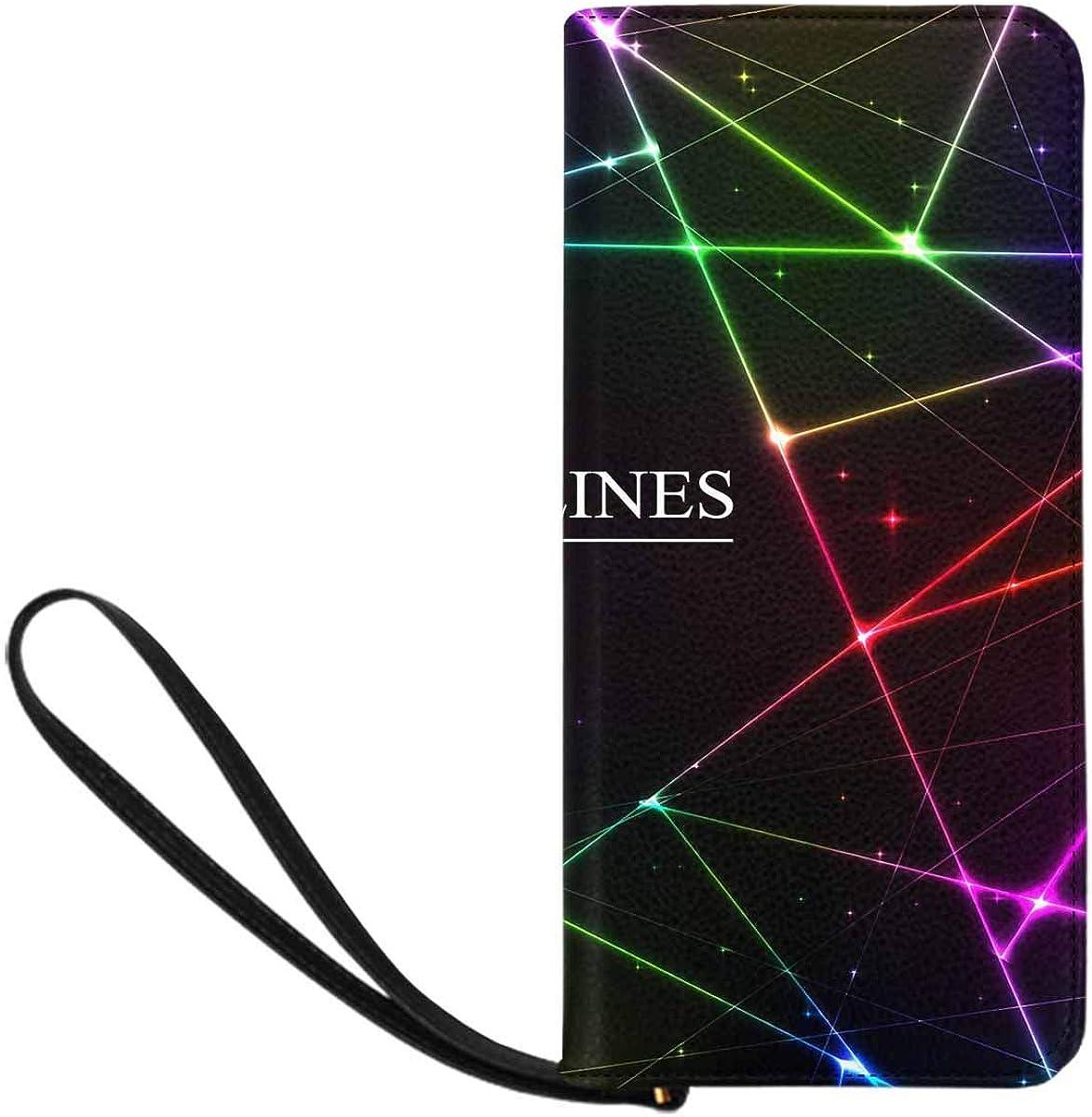 INTERESTPRINT Colorful Geometric Line Evening Bag for Women,Wedding Evening Clutch Purse Bag