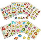 ThinkMax 6 Pcs Wooden Peg Puzzles for Toddlers 3 Years Old, Kids Knob Puzzles Set - Alphabet, Numbers, Fruits, Animals and Vehicles Learning Puzzles