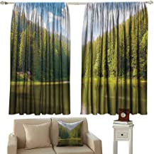 DuckBaby Kids Room Curtains Landscape Mountain Landscape in Forest by The Lake Summer Season Countryside Photo Tie Up Window Drapes Living Room W63 xL72 Green Blue White
