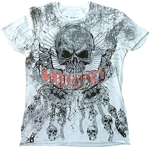 Amplifiés t-shirt pour homme blanc saint sinner gLORY strass et tête de mort sKULL design poing knast chaînes super special edition rock star vintage