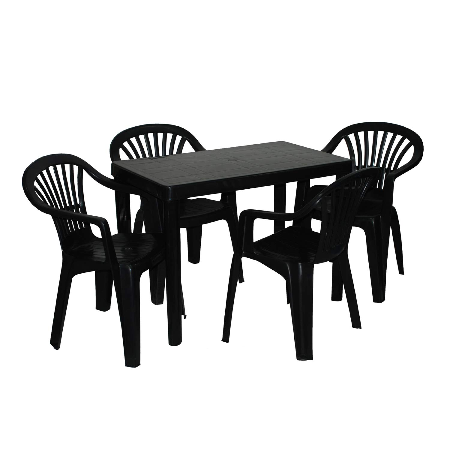 Plastic Garden Table & Chairs Set, 6 Seat - BLACK - Table 6cm (W) x 6cm  (L) x cm (H) & 6 Chairs - Quick & Simple Assembly.