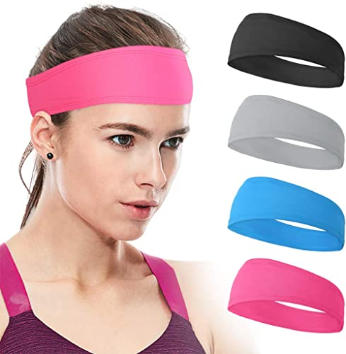 Xcellent Global 4 Pack Sweat Headbands Elastic Wide Head Wraps Sports Hair Bands Unisex for Workout Gym Fitness Yoga ...