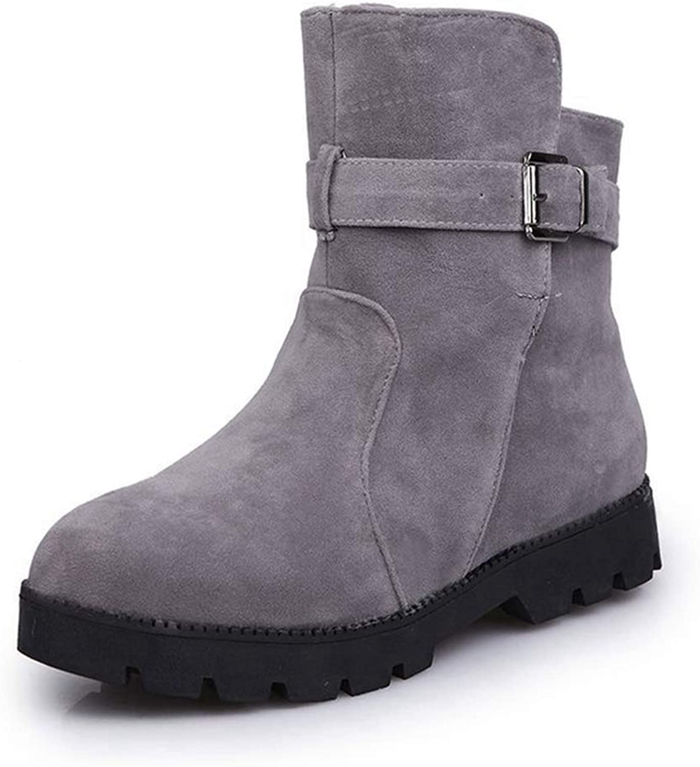CYBLING Women's Round Toe Buckle Strap Short Boots Western Low Heel Ankle Booties shoes