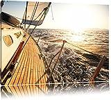 Segelboot im Meer Format: 120x80 auf Leinwand, XXL riesige