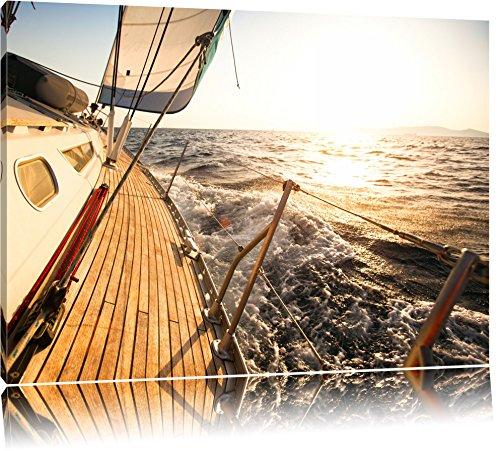 Segelboot im Meer Format: 120x80 auf Leinwand, XXL riesige Bilder fertig gerahmt mit Keilrahmen, Kunstdruck auf Wandbild mit Rahmen, günstiger als Gemälde oder Ölbild, kein Poster oder Plakat