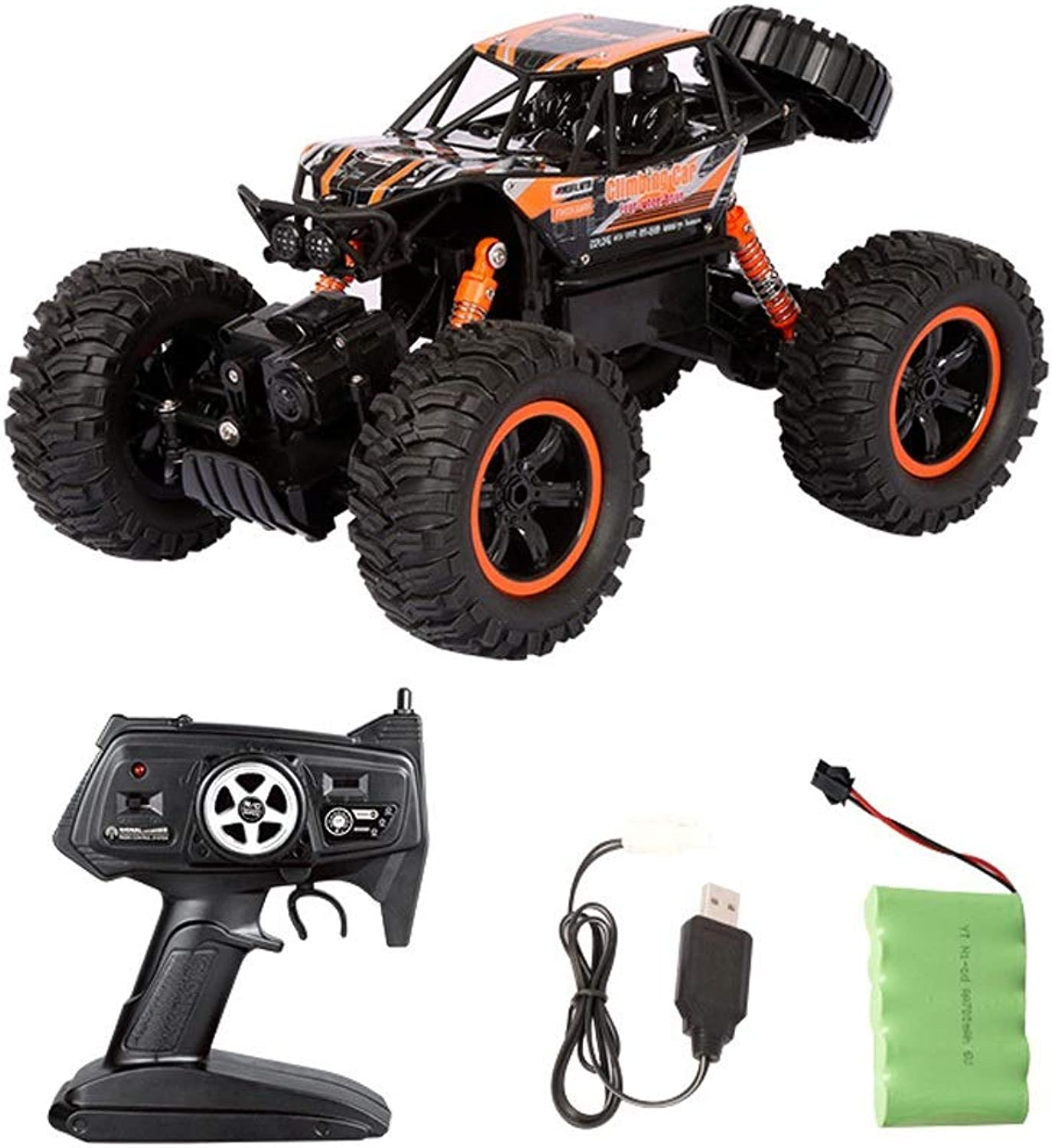 Tagke 4WD High Speed Rock Climbing Car 2.4GHz Charging Remote Control Car Dual Motor Powerful Power Offroad Vehicle Independent Shock Absorber Antifall Crash Large Overroad Tire Antiskid RC Car Us