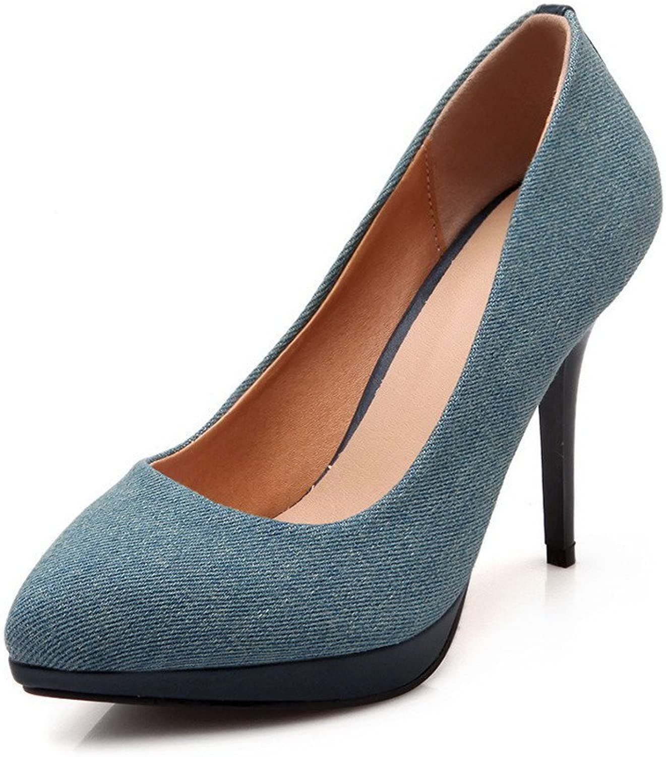 WeiPoot Women's Denim Spikes Stilettos Pointed Closed Toe Solid Pull On Pumps-shoes