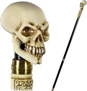 "GC-Artis Halloween Steampunk Skull Walking Stick Cane Gothic Style Knob Handle Black Wooden Shaft Folding 36"""