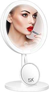 JOMARTO Lighted Makeup Mirror, Detachable Portable 5X Magnification Mirror, Mirror with Light, Cosmetic Mirror with Stand, Touch Sensor Dimming, 120° Rotation, Support USB Charging