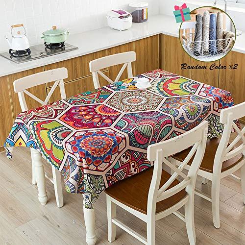 Fansu Mantel para Mesa Rectangular Bohemia Estilo Exótico,Antimanchas Impermeable Lavable Mantel - Adecuado para Decorar Cocina Comedor Salón Restaurante (100x140cm,Mandala)