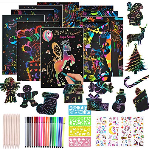 mambabydad Scratch Paper Art Set for Kids, 111 Pcs Rainbow DIY Magic Scratch Off Arts and Crafts Supplies Kits Sheet Pack Birthday Game Party Favor Christmas Easter Craft Gifts for Children