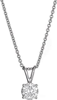 AGS Certified 14K Gold Brilliant-Cut Four Prong Diamond Pendants (L-M Color, I1-I2 Clarity), Choice of Carat Weights