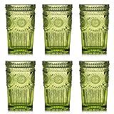 Kingrol Juego de 6 vasos de agua vintage de 12 onzas en relieve romántico, vaso de cristal para zumo, bebidas, cerveza, cóctel (verde)