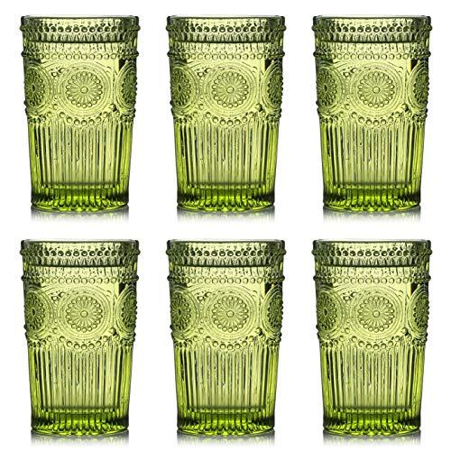 Kingrol 6 Pack Vintage Drinking Glasses 12 oz Embossed Romantic Water Glassware Glass Tumbler Set for Juice Beverages Beer Cocktail Green