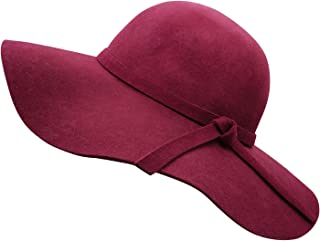 Bienvenu Women s Wide Brim Wool Ribbon Band Floppy Hat 346bafa1474