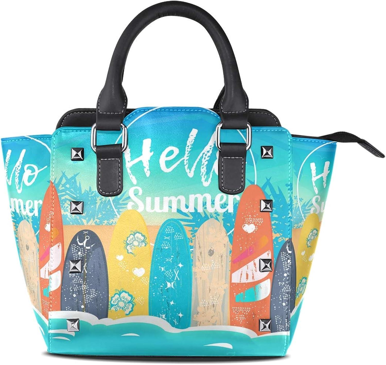 My Little Nest Women's Top Handle Satchel Handbag Hello Summer Surfing Boards Ladies PU Leather Shoulder Bag Crossbody Bag