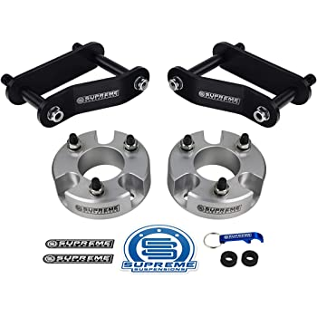 "Supreme Suspensions - Full Lift Kit for 2005-2020 Nissan Frontier 2005-2015 Nissan Xterra and 2009-2012 Suzuki Equator 3"" Front Lift Strut Spacers + 2"" Rear Lift Shackles 2WD 4WD (Silver)"