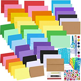 Bulk 18 Colors Blank A6 Envelopes and 4.6 x 6.3 Cards Assortment Stationery Kit A6 Invitation Envelopes Self Seal with 4.6...