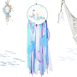 PartyTalk Mermaid Dream Catcher Handmade Purple Blue Dream Catchers for Kids Bedroom Wall Hanging Decor Mermaid Baby Shower Under The Sea Birthday Party Decorations
