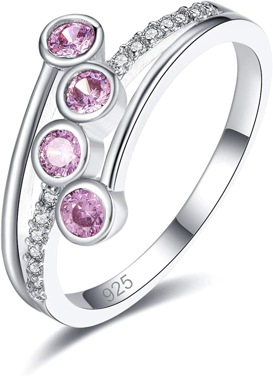 Emsione 925 Sterling Sale item Cheap SALE Start Silver Plated Ring Morganite Created Womens