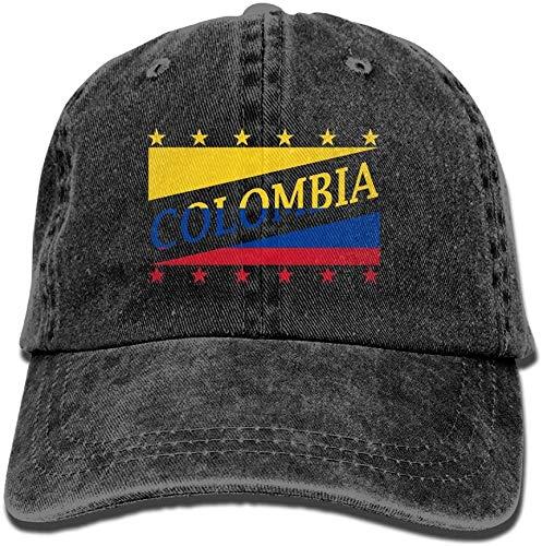 'N/A' Gorra de béisbol unisex con bandera de Colombia para el mundo de fútbol lavada, de algodón, ajustable, talla única, color negro
