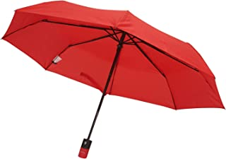 Automatic Open & Close Compact Travel Umbrella With Contour handle for Men and Women (Red)