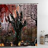 Alishomtll Halloween Duschvorhang Textil Badewanne Duschvorhang Digitaldruck Wasserdicht Anti Schimmel Polyester, 175x178cm