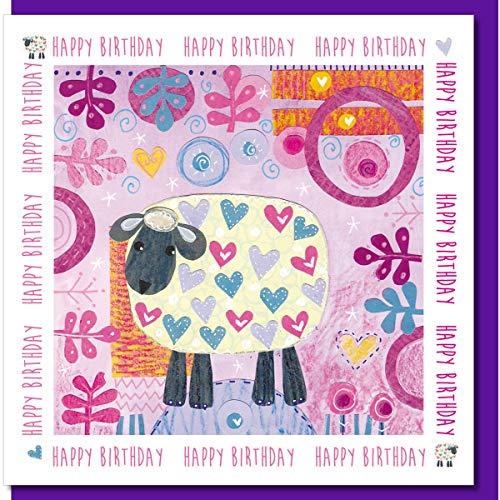 Verjaardagskaart, schapen, 14x14cm, met gekleurde envelop en cellofaan Cover. Leeg binnen.