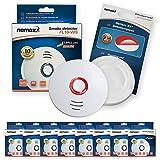 8X Nemaxx FL10VdS - VDS Detector de Humo/Alarma + Pad de fijación - VDS Certificado EN 14604 con Pila de de lítio incluida de Larga duración - 10 años de Vida - Blanco