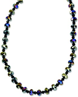 1928 Jewelry Black-Plated Aurora Borealis Black Glass Beads 16in w/ext Necklace