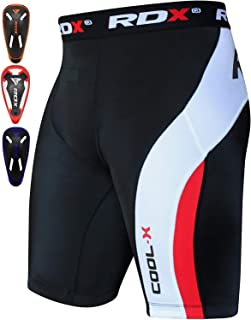 RDX MMA Men's Thermal Compression Shorts Groin Cup Boxing Training Guard Base Layer Fitness Running Exercise