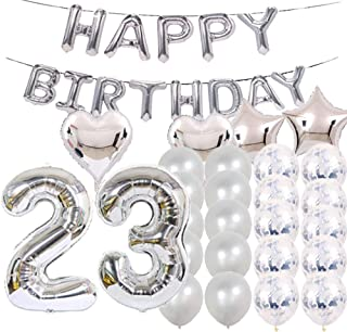 Sweet 23th Birthday Decorations Party Supplies,Silver Number 23 Balloons,23th Foil Mylar Balloons Latex Balloon Decoration,Great 23th Birthday Gifts for Girls,Women,Men,Photo Props