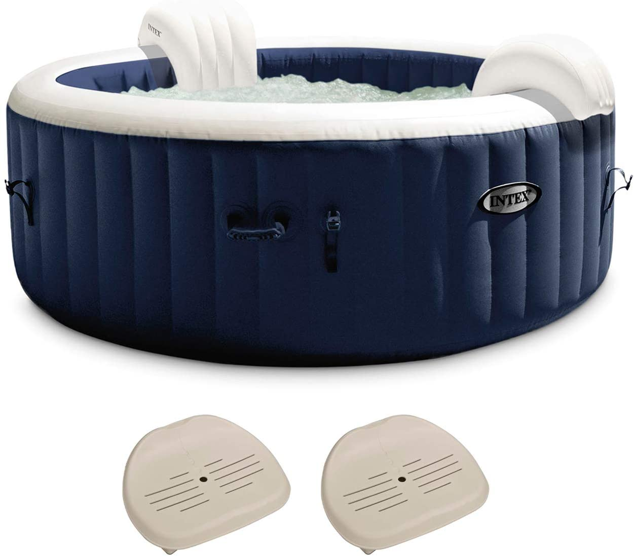Intex 28431E PureSpa Plus 85in x 25in Outdoor Portable Inflatable 6 Person Round Hot Tub Spa with 170 Bubble Jets, Cover, Built in Heater Pump, and 2 Non-Slip Seats, Navy