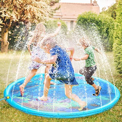 Fostoy Sprinkler für Kinder, Sprinkler Wasser-Spielmatte Splash Play Matte, Sommer Garten Wasserspielzeug Splash Spielmatte für Baby Kinder