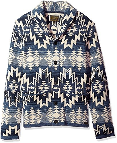 Lucky Brand Men's Shawl Collar Cardigan Sweater, Blue/Multi, XL