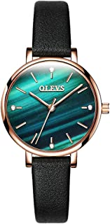 OLEVS Womens Watch - Ultra Thin Fashionable Minimalist - Stainless Steel Bezel Buckle - Luxury Leather Strap - Casual Analog Quartz Bracelet Watches for Women