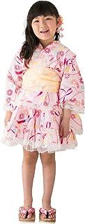 [ALICE MAGIC] 浴衣 こども 女の子 (帯 セット) 浴衣ドレス 子供服 セパレートタイプ [桜/薔薇/紫陽/朝顔/洋菊と蝶結び] キッズ ガールズ (95cm-130cm)