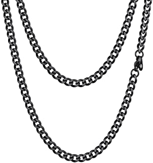 PROSTEEL Stainless Steel Cuban Chain Necklace, Silver/Gold/Black Tone, Nickel-Free, Hypoallergenic Necklace, W: 4.8mm-14mm...